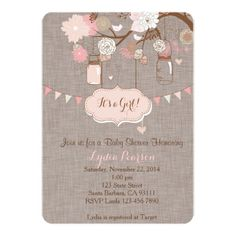 "Baby Shower Invitation for Girl With Mason Jar 5"" X 7"" Invitation Card"