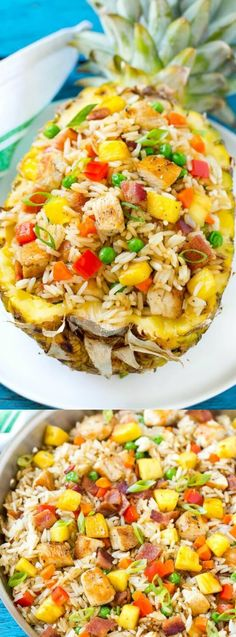 Pineapple Fried Rice tastes as good as it looks served in a pineapple bowl!