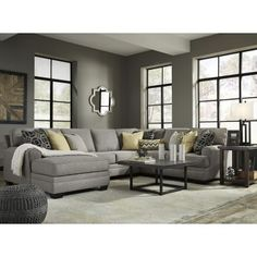 Cresson Chaise Sectional by Benchcraft. Get your Cresson Chaise Sectional at The Unique Piece, Dallas GA furniture store. Living Room Sectional, Living Room Grey, Living Room Sets, Living Room Designs, Modern Sectional, Sectional Sofas, City Furniture, Furniture Layout, Living Room Furniture