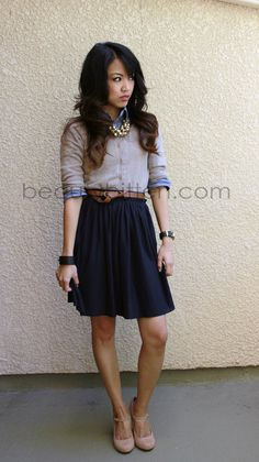 beautybitten | a personal style & beauty blog : Lookbook: Chambray and Pleated Skirt