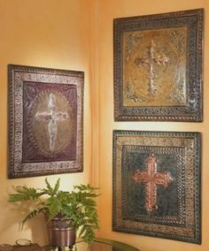 3 Rustic Mexican Hacienda Style Decor Wall CROSS Plaque  would love these on living room wall