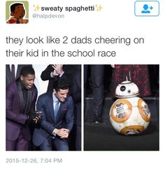 Cheering on BB-8 - John Boyega and Oscar Isaac of Star Wars: The Force Awakens
