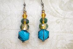 Glass earring blue yellow transparent bead by CocoFlowerShop