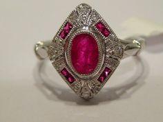 Art Deco Ruby and Diamond Ring | eBay