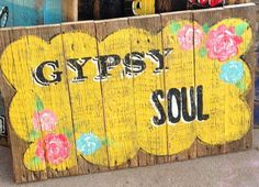 Gypsy Soul pallet sign Yellow Turquoise Roses by JunkvilleTX, $58.00
