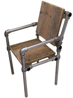 Chair with wooden seat and scaffolding frame scaffold tube (221 536)