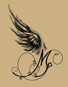 Angel-winged M - Tattoo Design