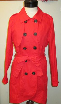 CAbi Red Belted Convertible Trench Coat Jacket Poppy Sz 10 #334 Double Breasted #CAbi #Trench