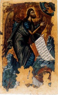 John the Baptist Angel of Wildness. Greek icon of Cretan School. Sarajevo, Archangel Church (Old Church). And folds! Byzantine Icons, Byzantine Art, Religious Icons, Religious Art, Greek Icons, Christian Religions, Jean Baptiste, Saint Jean, John The Baptist