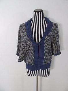 Lux Blue Yellow Chevron Cardigan Batwing Sweater Top Size S #Lux #Cardigan #Casual