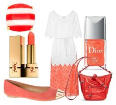 """""""coral paradise"""" by shannongarner ❤ liked on Polyvore featuring Carolina Herrera, Miguelina, Chinese Laundry, Vera Bradley, Yves Saint Laurent and Kate Spade"""