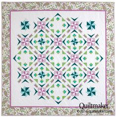 Springtime Spin quilt pattern: Simple foundation piecing is used to create the spiky patches and twirly pinwheels in this throw quilt designed by Jo Moury.