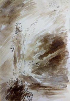 12 Avril 2018, évangile du jour illustré par un dessin au lavis
