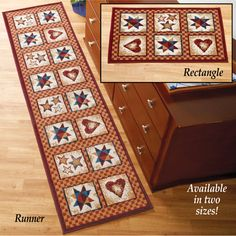 Country Star and Heart Patchwork Rug
