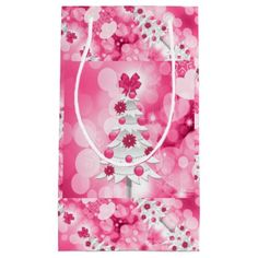 Pink Holiday Theme with White Christmas Tree Small Gift Bag - diy individual customized design unique ideas