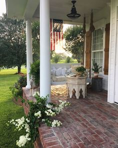 Porch Swing with rope hangers. Porch with brick flooring and swing daybed with rope hangers. Porch Flooring, Brick Flooring, Flooring Ideas, Ceramic Flooring, White Flooring, Unique Flooring, Terrazzo Flooring, Rubber Flooring, Bedroom Flooring