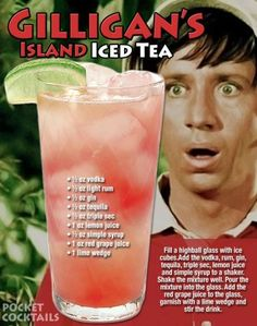 Willy Gilligan's take on the Long Island Iced tea. Mixed Drinks Alcohol, Alcohol Drink Recipes, Iced Tea Recipes, Liquor Drinks, Cocktail Drinks, Beverages, Cocktail Recipes, Alcholic Drinks, Famous Drinks