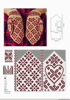 Beautiful gloves with jacquard . Discussion on LiveInternet - Russian Service Online Diaries Knitted Mittens Pattern, Knit Mittens, Knitting Socks, Knitting Charts, Knitting Stitches, Knitting Patterns, Crochet Patterns, Knitting Designs, Knitting Projects