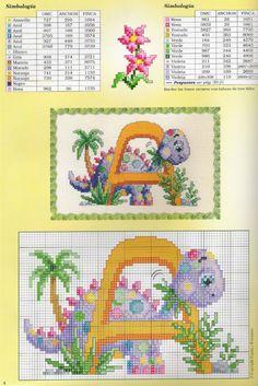 Gallery.ru / Фото #33 - iniciales 11 - geminiana Cross Stitch Letters, Cute Cross Stitch, Cross Stitch Charts, Cross Stitch Designs, Stitch Patterns, Dinosaur Alphabet, Embroidery Designs, Kids Rugs, Dragon