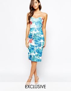 583c91df4a True Violet Midi Dress With Sweetheart Neck In All Over Floral Print at asos .com
