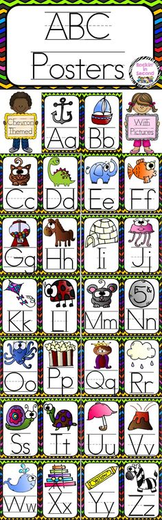 Chevron Themed ABC Posters  These posters are great for identifying both Capital & Lower Case Letters. It's written with lines to show your kiddos how the letters should be formed. The pictures are great for learning beginning sounds.  You can post them for examples or use them as flash cards for beginners.   Follow me on TPT for more exciting activities and FREEBIES!! All new products are 50% off for the first 24 hours.   Find me on Facebook at www.facebook.com/rockininsecond