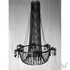 Large Black 6 Arm Beaded Hanging Candle Holder Chandelier