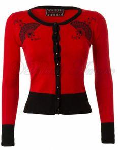 NEW CARDIGAN SWEATER BLACK RED ROCKABILLY FIFTIES RETRO VINTAGE FAN VOODOO VIXEN