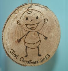 Babys First Christmas Tree Slice Ornament by hippiescreations, $8.00