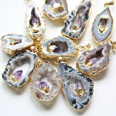 One Piece Natural Hand Cut Raw Brass Framed Agate Druzy Pendant (4)