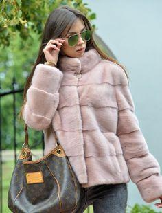 MINK FURS - amazing pastel rose royal saga mink fur jacket - furs outlet