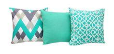 Set of 3 Aqua & Grey Geometric Cushion Covers