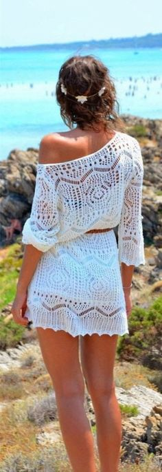 street style / white crochet off-shoulder dress