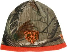 Chicago Bears Realtree Camo Beanie Hat by New Era. $19.99. One size fits most. 62% cotton, 35% polyester, 3% spandex. Officially licensed. Embroidered designs. The look of Realtree hunting gear and your favorite NFL team meet in this officially licensed Chicago Bears cap! Featuring waffle-weave Realtree material, bright orange fleece lining, and a three-dimensional embroidered team logo, this is sure to be a favorite during cold weather. 62% cotton, 35% polyester, 3% spand...