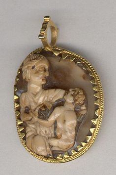 Cameo with the Fasting of Saint Nicholas  Date:     ca. 1200–1250 Culture:     South Italian Medium:     Agate with gold frame