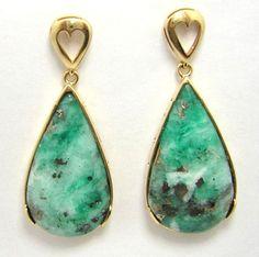 Colombian Emerald Earrings Cabochon Pear Shape 44.87 Ct 18K Yellow Gold Muzo Min