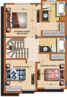 Casa tipo B - Planta 2 | medidas para insertar baño...