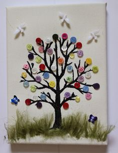 Handmade tree with buttons on canvas 21 cm