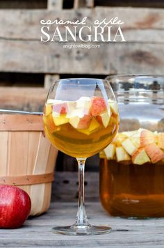 Caramel Apple Sangria via A Night Owl >> #WorldMarket Cheers #Recipes #Cocktails