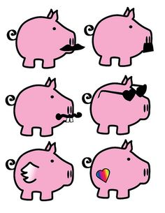 Adorable pink pigs.  FREE high-res jpg download.