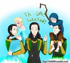Loki, Elsa, and Jack. I THINK this belongs to the tumblr account tagged in the photo, but if not, please let me know so I can give credit.