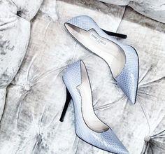 Pale blue leather Jimmy Choo heels with black edging. Shoe Boots, Shoes Heels, Pumps, Blue Heels, High Heels, Bleu Pale, Christian Louboutin, Jimmy Choo Shoes, Shoe Game