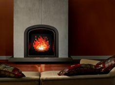 Custom-painted Zelda fireplace insert.