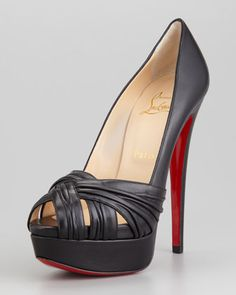 Arborina Twist-Front Platform Red Sole Pump by Christian Louboutin