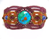 Chrysocolla Micro Macrame Bracelet Cuff