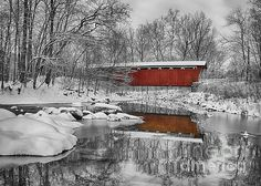 Everett Road Covered Bridge is the only remaining covered bridge in Summit County, Ohio. This historic bridge played an important role in the transportation system back in the 19th century. In this image, I converted the image to a black and white and selectively pulled out the color of the bridge as it being the predominate feature of the setting in the winter time as shown here.