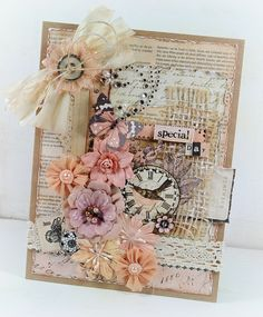 "Shabby ""A Special Day"" Card...with lace & flowers...Scrapbook.com."