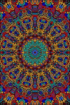 3D Psychedelic Sunburst Tapestry