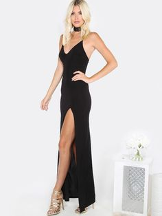 V Neck Slit Maxi Dress BLACK