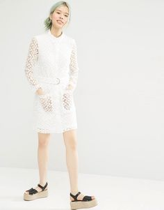 Image 4 of Monki Button Up Lace Shirt Dress