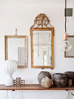 neutrals: bare bulb light, vintage mirrors and ceramic jugs. Decoration Inspiration, Interior Inspiration, Sweet Home, Vintage Mirrors, Home And Deco, Interior Exterior, Interiores Design, Interior Styling, New Homes